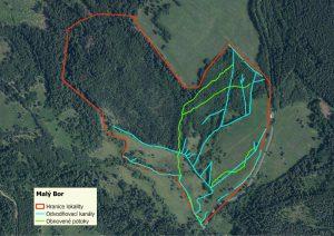 Malý Bor na mapě s vyznačeným odvodněním a nalezenými potočišti, které budeme obnovovat.